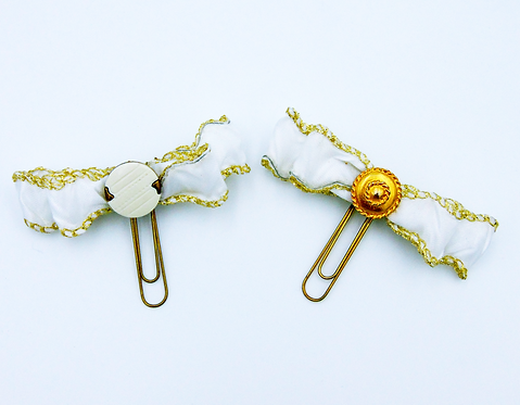 Gold and White Bow paper Clip