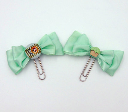 Green Ribbon Bow Paper Clip