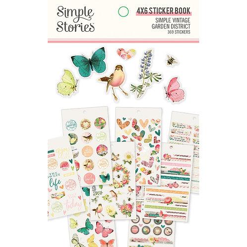 """Simple Vintage Garden District 4"""" x 6"""" Sticker Book - Simple Stories"""