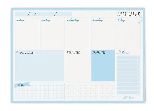 Sky Blue Weekly Planner Pad