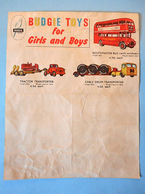 Budgie Toys Leaflet 1959 - Third Issue (reverse)