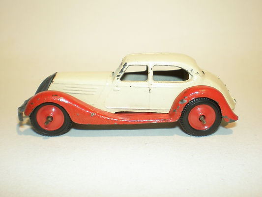 Britains Lilliput LV/602 Saloon Car - red & cream, red plastic wheels & black tyres
