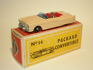 Budgie Miniatures No.14 Packard Convertible - bpw, blue screen, gold driver, Modern (type 1) box