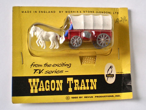 Budgie Wagon Train blister-pack - white canopy, whiite horses