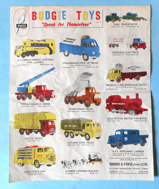 Budgie Toys Leaflet 1959 - First Issue