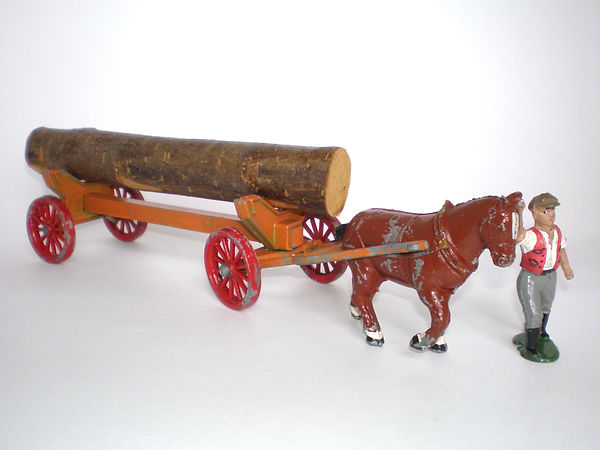 Benbros Qualitoys Horse-Drawn Log Carrier (orange cart)