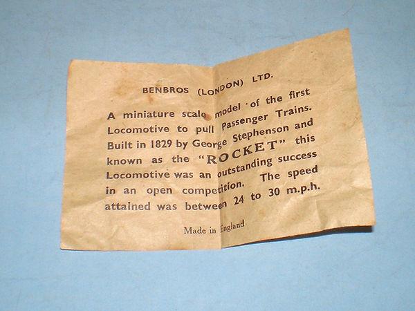Benbros Stephenson's Rocket leaflet