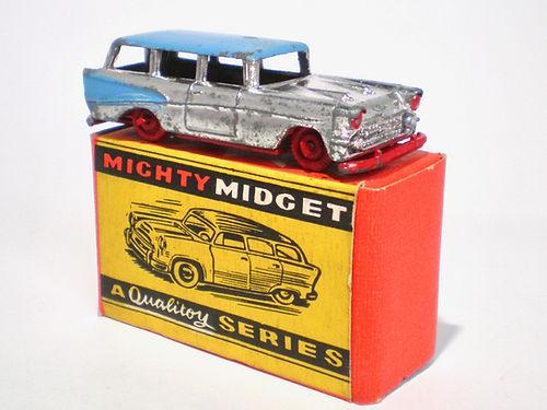 Benbros Mighty Midget No.16b - chrome, blue roof & flash, red base & wheels