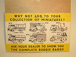 Budgie Miniatures yellow blister-pack (reverse)