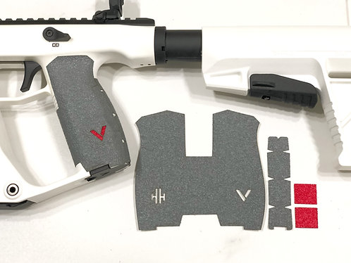 Kriss Vector Gray Textured Rubber Gun Grip Enhancement Gun Parts Kit Red Insert