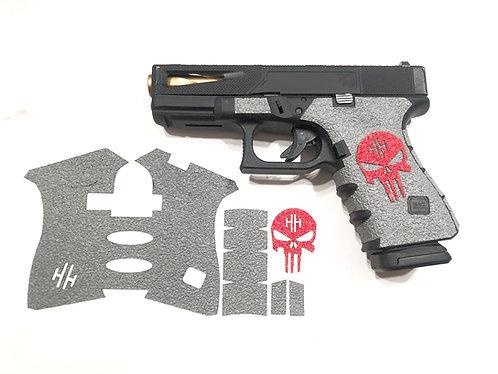 Glock 19/23/25/32/38 Gray Textured Rubber and Color Skull Gun Grip Kit