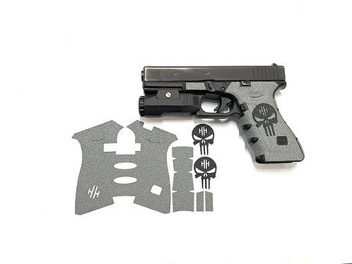 Glock Gray w/ BLACK Skull Textured Rubber Gun Grip Kit