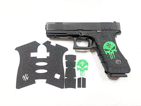 Glock 17/22/34/35 Black Textured Rubber and Color Skull Gun Grip Kit