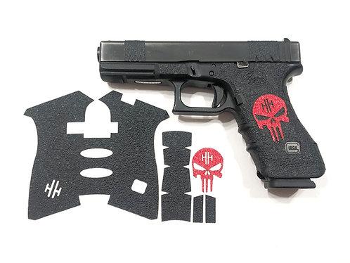 Glock  Black Textured Rubber and Color Skull Gun Grip Kit