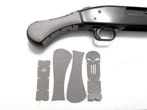 GRAY Shockwave Skull Textured Rubber Gun Grip Wrap Kit for 410 version