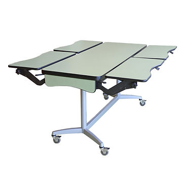 Adjustable height wheelchair accessible table
