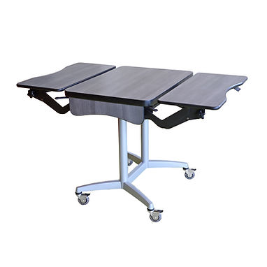 Adjustable height mobile wheelchair accessible table