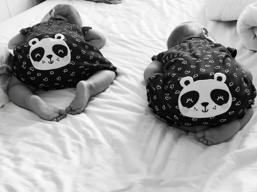 These little pandas taking a rare coordinated nap so that mama could work.