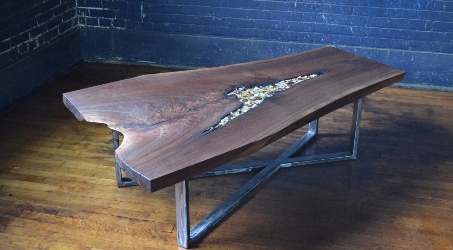 custom walnut coffee table with river rock inlay