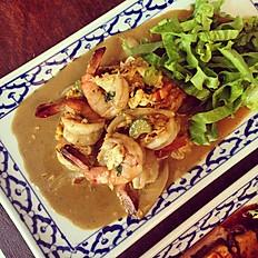 Crevettes sautées au curry et coco