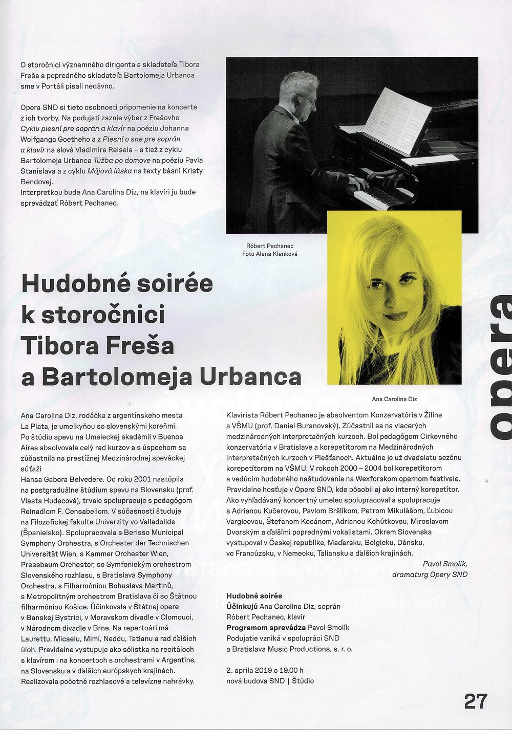 Musical soirée to the century of Tibor Frešo and Bartolomej Urbanec, CD presentation.