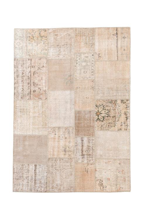 שטיח טלאים עבודת יד בז ירוק וורוד