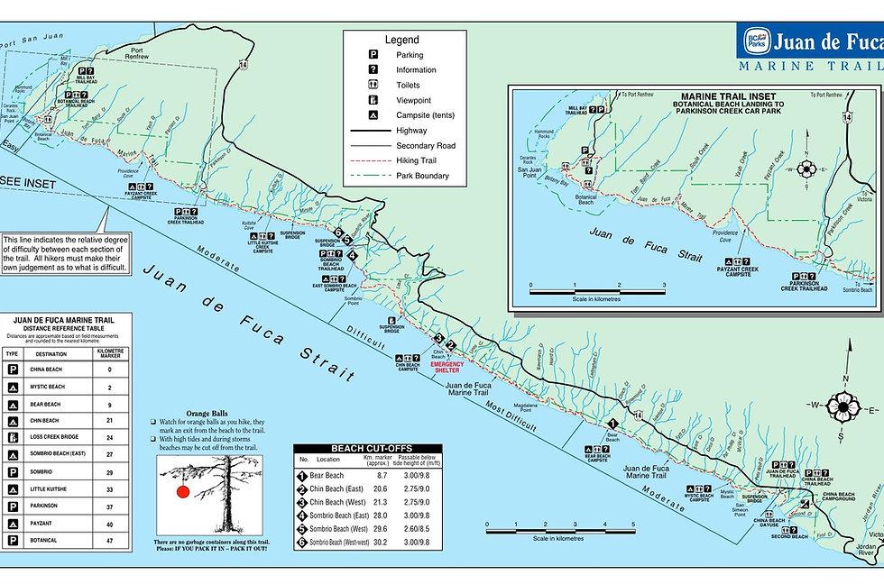 Juan de Fuca Trail Map