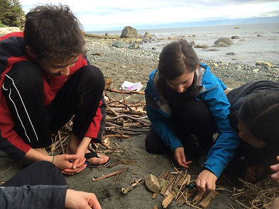Students on the Juan de Fuca Trail