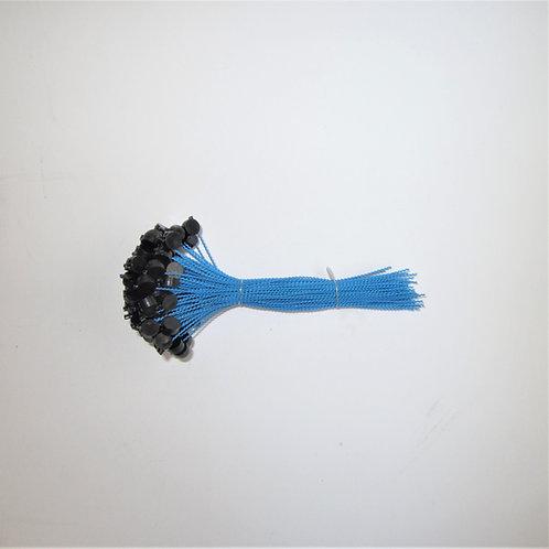 Kunststoff Expressplomben 8mm schwarz,  Draht blau