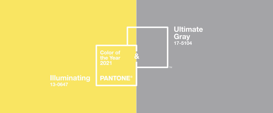 Graphic of Pantone's colors of the year: illuminating yellow and ultimate gray shown side by side