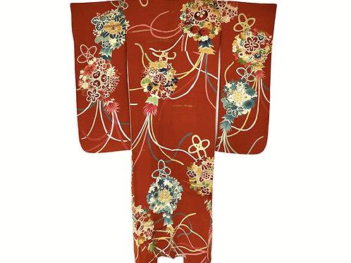 KUSUDAMA FLOWER Antique Japanese Silk Kimono in burnt orange floral design