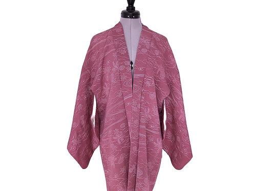 Rose Pink Kiku, 1970-80s Vintage rose-pink Silk Haori