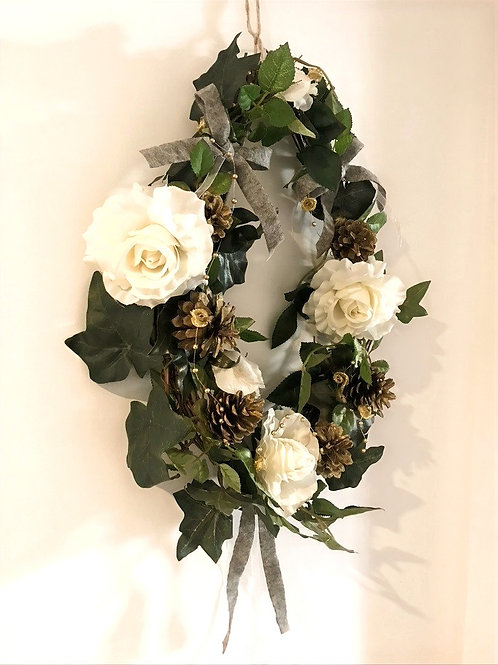 Tear drop White Rose Wreath
