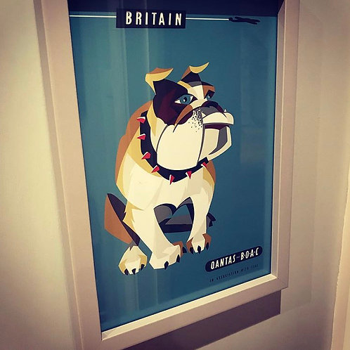 Quantas British Bulldog Print and Frame (A4)