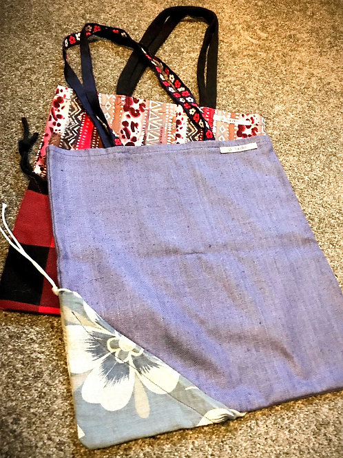 Sustainable Shopping Bag (Blue floral)