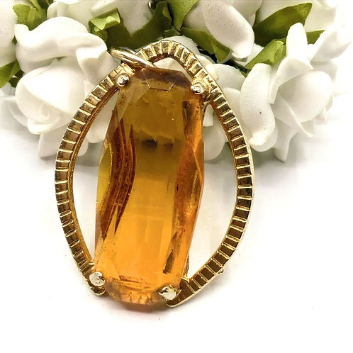 Vintage Faceted Amber Glass & Gold Pendant