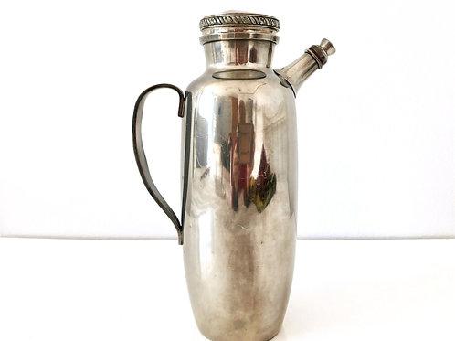 VINTAGE NORWEGIAN CARAFE - Norwegian Pewter wine jug with cork stopper and top,