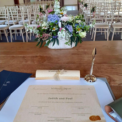 Oaktree Ceremonies Certficate