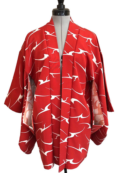 WHITE CRANES Vintage Crepe Silk Japanese Kimono Haori