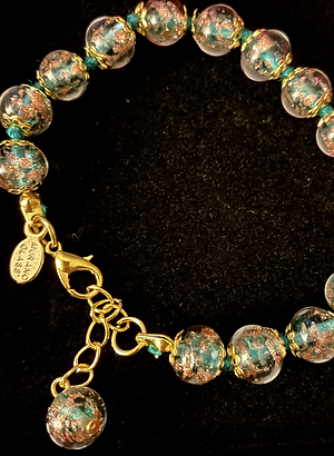 Teal Green Venetian Murano Glass Bracelet
