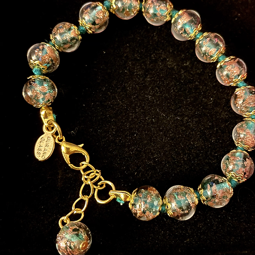 Teal Green Venetian Murano Glass Bracelet