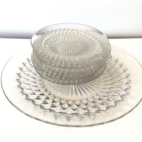 GLASS CAKE SET 1960/70s