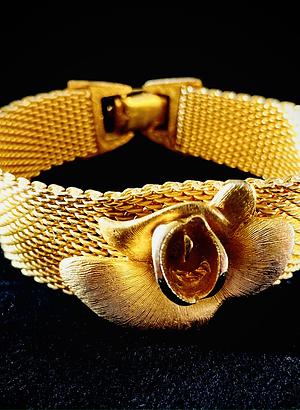 Vintage Gold Plated Mesh Rose Bracelet