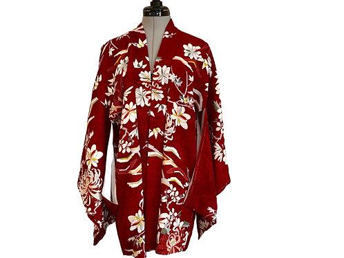RED KIKUVintage Japanese Kimono Haori Jacket, dark red chrysanthemum