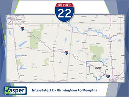 Interstate 22 Jasper Map Blue Green Back