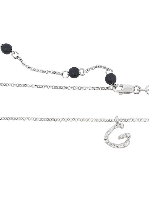 925 Sterling Silver Letter 'G' Pendant with CZs and rolo style Necklace