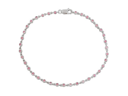 Pink Cubic Zirconia Tennis Bracelet in 925 Sterling Silver