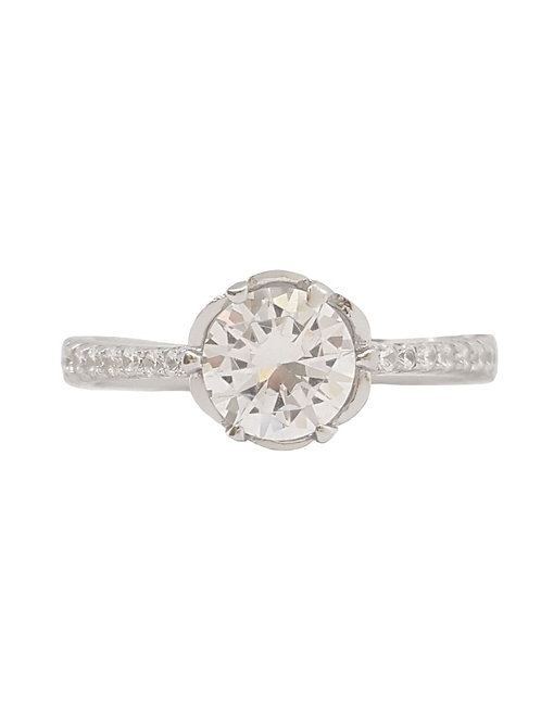 Flower Design Solitaire Ring in 925 Sterling Silver