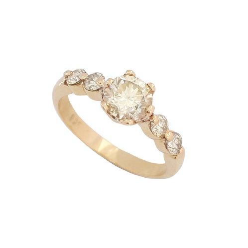 *CD DESIGNER* 1.054ct Moissanite and Diamond Ring in 9ct Yellow Gold