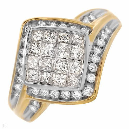 1ctw Diamond Cluster Ring in 10K Two Tone Gold- Size 7